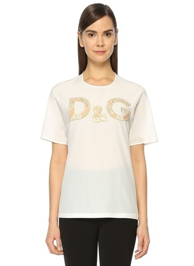 Kısa Kollu Logo Nakışlı Bluz-Dolce&Gabbana